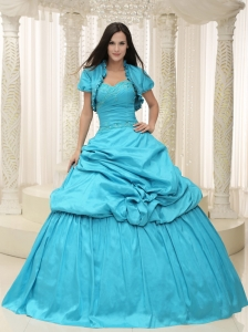 Aqua blue Taffeta Appliques Lace Up For Quinceanera Dress