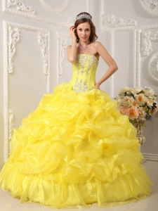 Yellow Strapless Organza Beading Quinceanera Dress