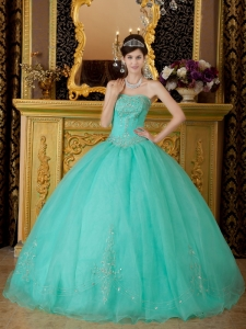 Turquoise Quinceanera Dress Strapless Floor-length Organza Beading