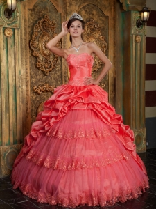 Watermelon Quinceanera Dress Sweetheart Taffeta and Tulle Lace