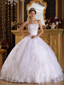 White Quinceanera Gown Strapless Embroidery Beading White