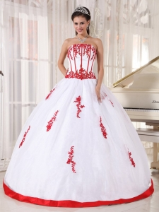 White Ball Gown Strapless Quinceanera Dress Satin and Organza
