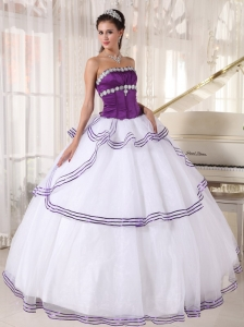 Quinceanera Dress White and Purple Organza Appliques