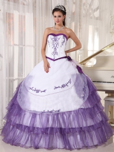 Quinceanera Dress Purple Sweetheart Organza Embroidery
