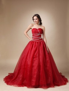 Wine Red Princess Sweetheart Taffeta Organza Quinceanea Dress