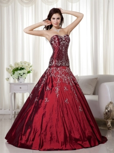 Wine Red Sweetheart Beading Embroidery Quinceanera Dress
