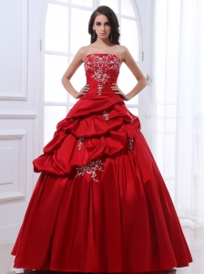 Red Appliques Pick-ups Quinceanera Dress Taffeta 2013