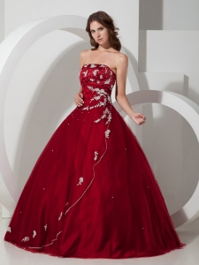 Wine Red Quinceanera Dress Satin Beading Tulle Appliques