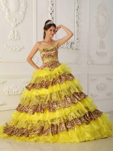 Yellow Quinceanera Dress A-Line Princess Strapless Leopard