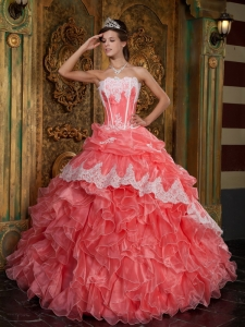 Waltermelon Quinceanera Dress Strapless Ruffles Organza