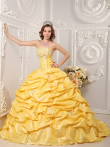 Yellow Strapless Quinceanera Dress Court Train Taffeta
