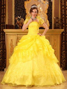 Yellow Strapless Quinceanera Dress Organza Appliques Gown