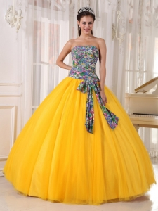 Yellow Quinceanera Gown Strapless Tulle and Printing Sequins