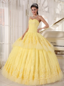 Yellow Sweetheart Organza Appliques Quinceanera Dress