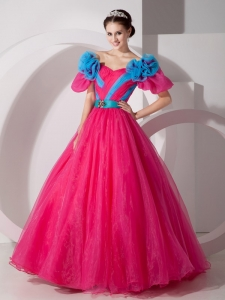 Hot Pink A-line V-neck Quinceanera Dress Organza Floral