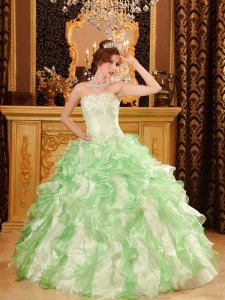 Apple Green Quinceanera Dress Organza Beading and Ruffles