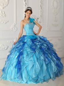 Aqua Blue Quinceanera Gown One Shoulder Satin Organza Beading