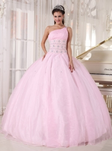 Baby Pink Quinceanera Dress One Shoulder Tulle Beading