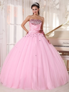 Baby Pink Quinceanera Dress Strapless Tulle Beading Ruch