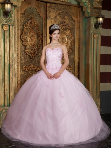 Baby Pink Ball Gown Sweetheart Tulle Appliques Quinceanera Dress