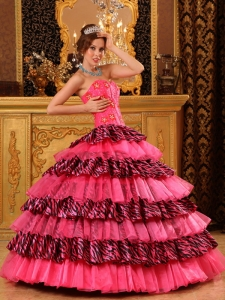 Ball Gown Sweetheart Floor-length Organza and Zebra Beading