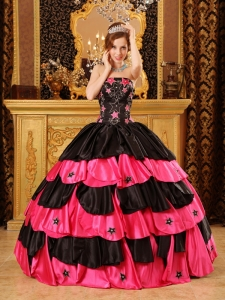 Strapless Taffeta Beading Quinceanera Dress Black And Red