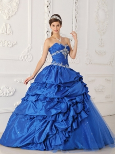Blue Sweetheart Quinceanera Dress Taffeta Tulle Appliques Beading