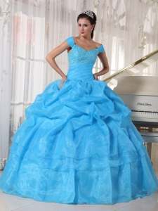 Aqua Blue Ball Gown Off The Shoulder Taffeta Organza Beading