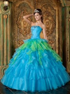 Blue Quinceanera Dress Strapless Organza Beading Ruffles