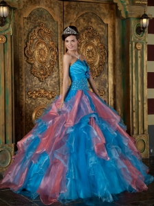 Blue Quinceanera Dress Strapless Organza Beading and Ruffles