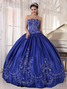 Blue Strapless Satin Embroidery Quinceanera Dress