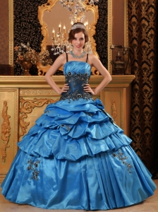 Blue Quinceanera Dress Straps Taffeta Appliques