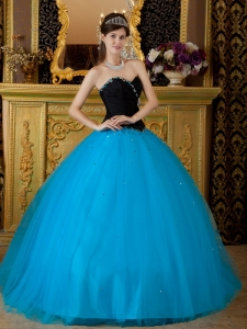 Ball Gown Blue and Black Beading Tulle Quinceanera Dress