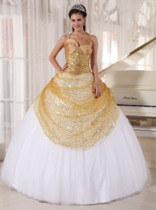 Spaghetti Straps Gold and White Tulle Sequin Quinceanera Dress