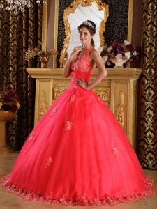 Coral Red Ball Gown Halter Floor-length Appliques Tulle