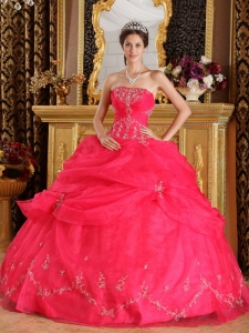 Coral Red Strapless Organza Appliques Quinceanera Dress
