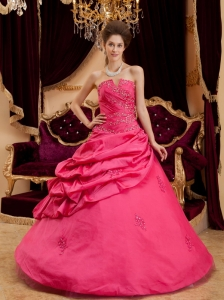 Hot pink Quinceanera Dress Strapless Floor-length Appliques