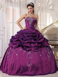 Ball Gown Eggplant Purple Strapless Taffeta Embroidery Beading