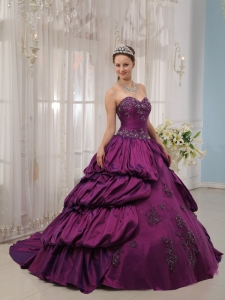 Purple Ball Gown Sweetheart Court Train Taffeta Appliques