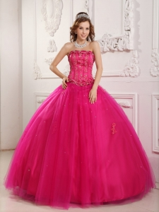 Strapless Quinceanera Gown Dress Tulle Beading Hot Pink
