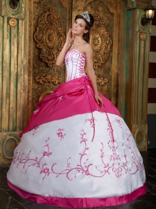 Hot pink Ball Gown Strapless Embroidery Satin Quinceanera Dress