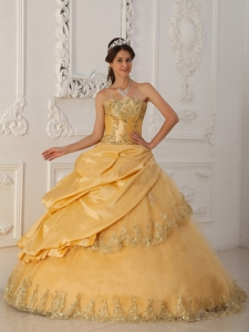 Gold Sweetheart Quinceanera Dress Taffeta and Tulle Beading