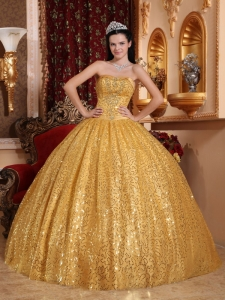 Gold Ball Gown Sweetheart Sequined Quinceanera Dress