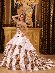 Ball Gown Strapless Brush Train Taffeta and Leopard White