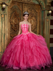 Quinceanera Dress Strapless Floor-length Appliques Organza Hot Pink