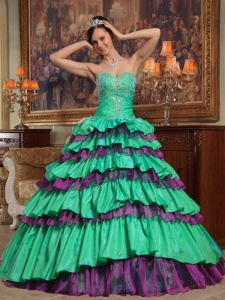 Green Sweetheart Floor-length Taffeta and Organza Beading