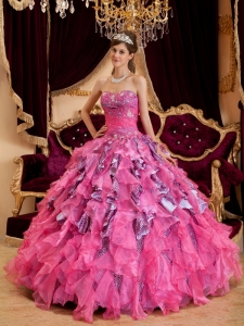 Hot Pink Ball Gown Sweetheart Beading Leopard and Organza