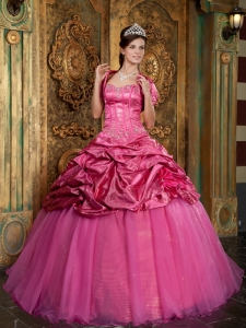 Sweetheart Hot Pink Organza Appliques Quinceanera Dress