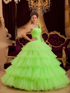 Quinceanera Dress One Shoulder Floor-length Ruffles Spring Green