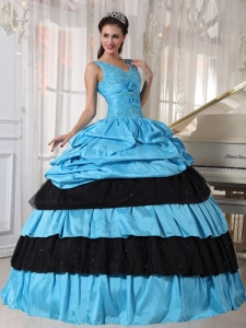 Light Blue and Black Quinceanera Dress V-neck Taffeta Beading